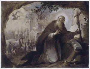 Het vizioen van een heilige in een grot: duivels vallen een kerk aan