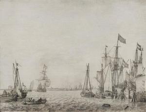 gezicht over het IJ vanuit de haven van Amsterdam