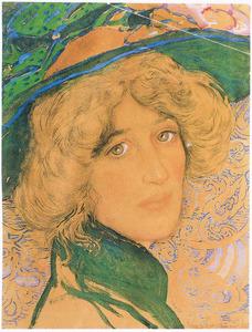 Portret van Greet van Cooten met hoed