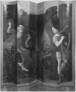 Saul staat de harpspelende David naar het leven (1 Samuel 18:10-11)
