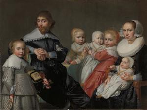 Portret van Cornelis van der Heijde, zijn vrouw Ariaentgen de Buijser en hun vijf kinderen