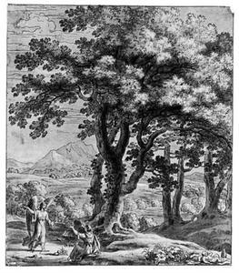 Landschap met de engel, die Hagar de bron wijst in de wildernis (Genesis 21:14-21)
