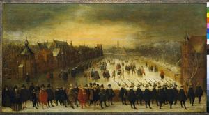 Wintergezicht op de Vijverberg te Den Haag met prins Maurits van Oranje-Nassau (1567-1625) en zijn gevolg
