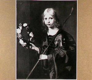 Kind met herderstaf en bloemenkrans