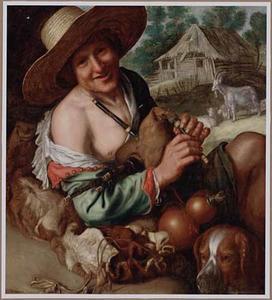 Een lachende doedelzakspelende herder