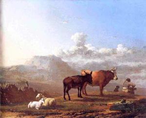 Zuidelijk landschap met herder en enkele dieren
