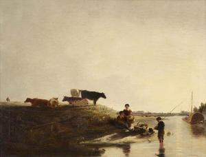 Landschap bij Windsor met koeien en vissers