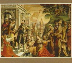 De H. Sebastiaan neemt afscheid van zijn familie. In de achtergrond zijn martelaarschap