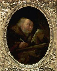 Oude schrijvende man