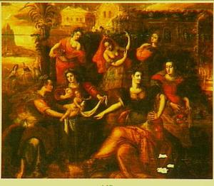 Farao's dochter en haar metgezellinnen vinden  Mozes (Exodus 2)