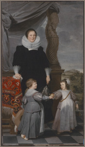 Familieportret van Mathilde Lintermans (?-1641), haar zoon Jean Baptist Bierens (1620-1690) en haar dochter Maria Magdalena Bierens (?-?)