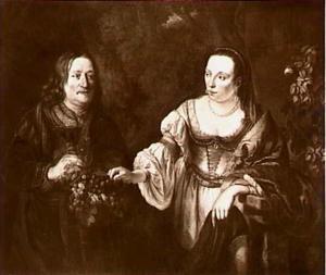 Dubbelportret van een man en een vrouw in een landschap, mogelijk Hendrik Trip (1607- ) en zijn echtgenote