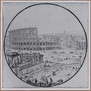 Het Colosseum en de boog van Constantijn in Rome