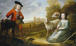 Portret van een negenjarige jongen en een zevenjarig meisje met een geit en schapen in een landschap met de ruïne van kasteel Egmond