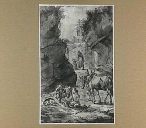 Italianiserend rotslandschap met paard en figuren