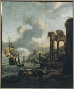 Mediterrane haven met ruïne