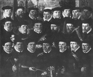 Eenentwintig Amsterdamse schutters behorende tot Rot B van de St. Jorisdoelen