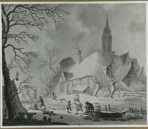 Wintergezicht bij een dorp met figuren op het ijs: de Winter