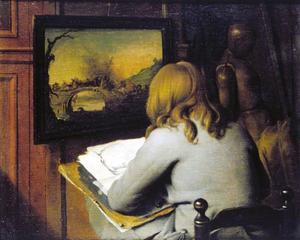 Jonge tekenaar een schilderij kopiërend op  zijn atelier