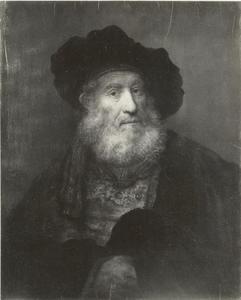 Borststuk van een oude man met baard en baret