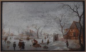 Wintergezicht met schaatsers