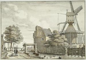 Het Zwarte Water met de toren Simpoel en de stadsvolmolen in de Bemuurde Weerd bij Utrecht