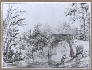 Landschap met een stenen brug over een vaart