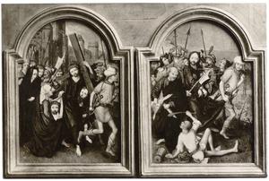 De kruisdraging (links); de gevangenneming van Christus (rechts)