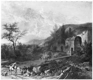 Zuidelijk landschap met rustende reizigers langs een weg naar een stad