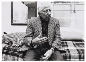 Portret van Jan Roëde in zijn atelier