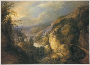 Rotslandschap met waterval