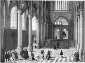 Kerkinterieur met Christus en de overspelige vrouw