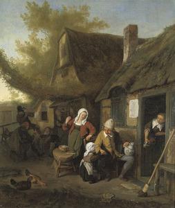 Een boerenfamilie rokend en drinkend voor een boerderij
