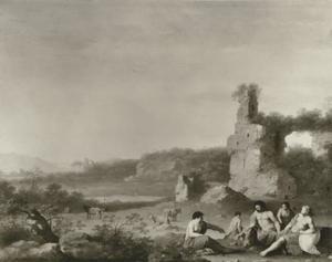 Italianiserend landschap met ruïne