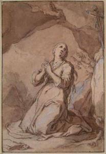 Vrouwelijke heremiet in een grot