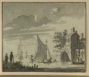 Kust met schepen en fortificaties