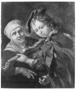 Oude vrouw en een viool spelende jongen