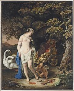 Cupido Venus helpend bij haar toilet