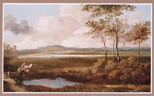Gezicht op de vallei van de Theems met een poel op de voorgrond
