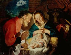 De aanbidding van Jezus door Maria en Jozef