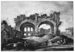 Zuidelijk landschap met ruiters en herders bij ruïnes op het Forum Romanum te Rome (in het midden de Basilica van Constantijn en rechts de Vestatempel)