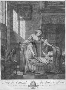 Interieur met vrouw en kind