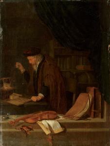Vanitas; een oude man weegt geld
