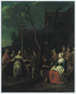 Figuren dansend om een meiboom voor een herberg