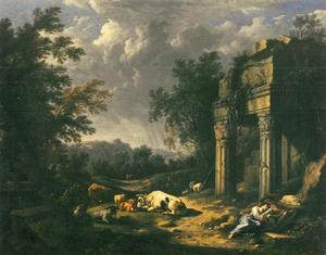 Bebost landschap met rustende herders en vee bij een klassieke ruïne