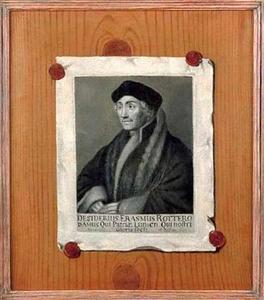 Trompe-l'oeil van een prent met een portret van Desiderius Erasmus (1466-1536) bevestigd aan een houten plank