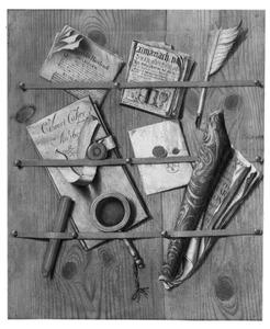 Trompe-l'oeil van een brievenbord met een almanak, documenten, een vergrootglas en zegellak