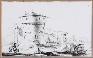 Fortificatie met ronde toren in landschap