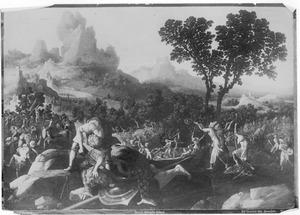 David onthoofdt Goliat met een zwaard  (1 Samuël 17:51)