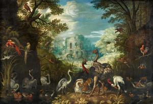 Landschap met vogels en in de achtergrond een ruïne van een toren